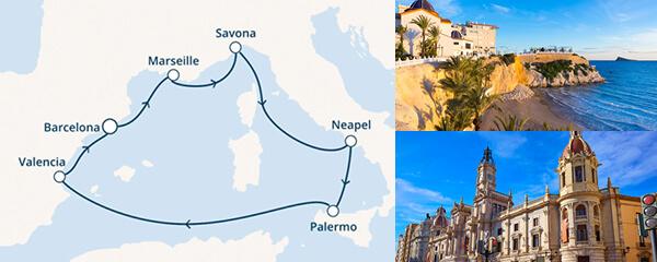 Routenverlauf Costa Herbstliches Mittelmeer ab/bis Barcelona