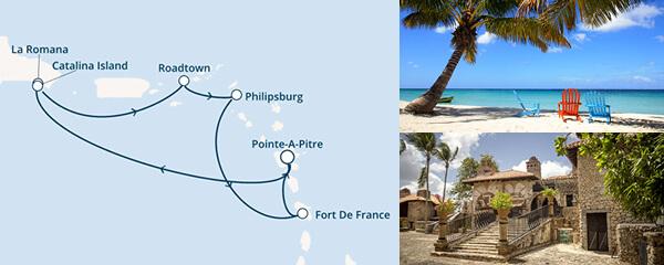 Routenverlauf Die Perlen der Karibik am 02.01.2021