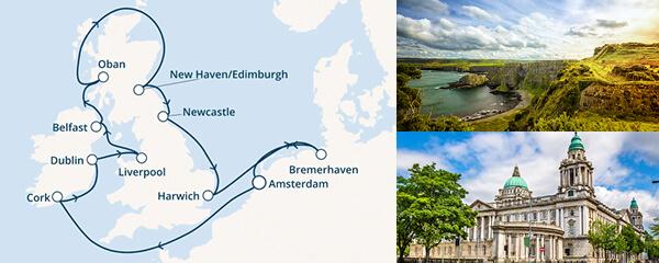 Routenverlauf Costa Rund um Großbritannien
