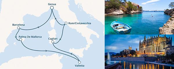 Routenverlauf Costa Reiseziel Mittelmeer