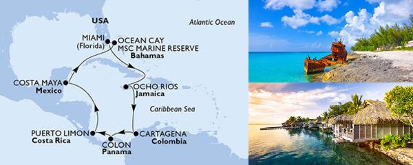 Routenverlauf 11 Tage Karibik & Antillen (MSC Divina) am 29.01.2021