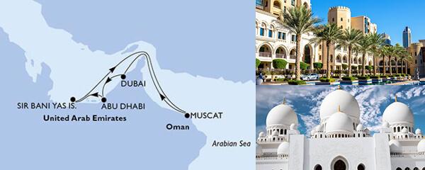 Routenverlauf 7 Tage Dubai, Abu Dhabi & Indien (MSC Lirica) am 07.03.2021