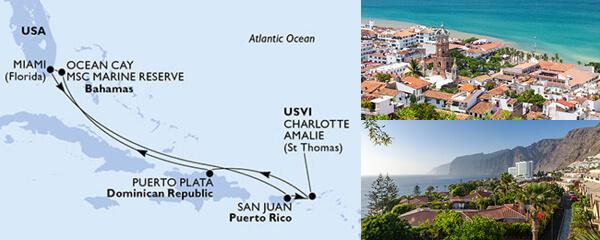 Routenverlauf 7 Tage Karibik, Kuba & Antillen (MSC Seaside) am 20.02.2021