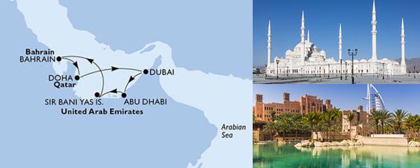 Routenverlauf 7 Tage Dubai, Abu Dhabi & Indien (MSC Seaview) am 20.02.2021