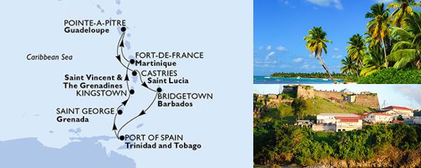 Routenverlauf 7 Tage Karibik & Antillen (MSC Splendida) am 20.02.2021