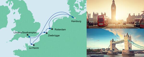Routenverlauf Metropolen ab Hamburg am 19.06.2021