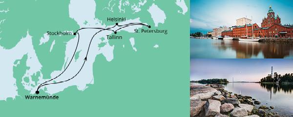 Routenverlauf Ostsee ab Warnemünde 1 am 19.06.2021