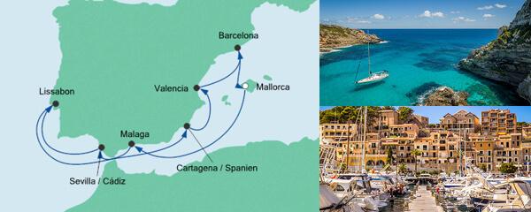 AIDA Pauschal Angebot Spanien & Portugal mit Málaga