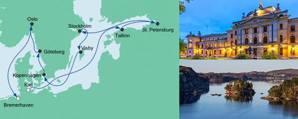 AIDA Spezialangebot Baltikum und Skandinavien ab Kiel