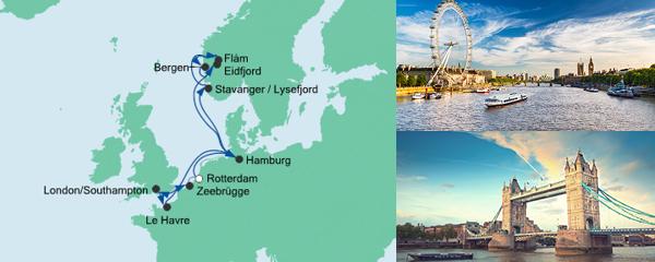 Routenverlauf Metropolen & Norwegen am 07.05.2020