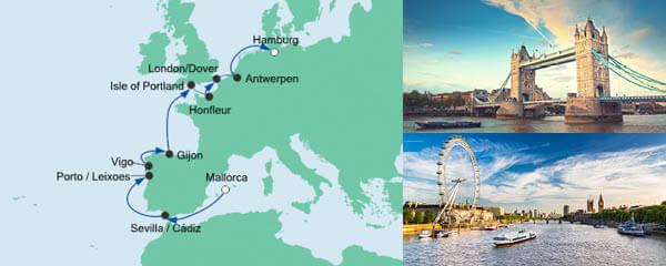 Routenverlauf Von Mallorca nach Hamburg am 03.05.2020