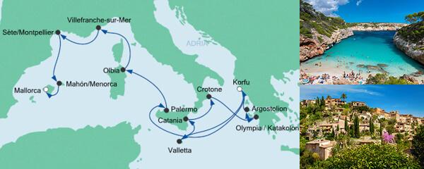 Routenverlauf Von Korfu nach Mallorca 3 am 29.09.2020