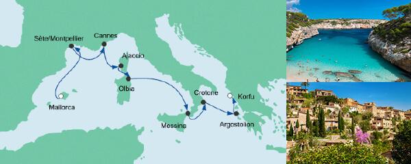Routenverlauf Von Mallorca nach Korfu am 25.04.2020