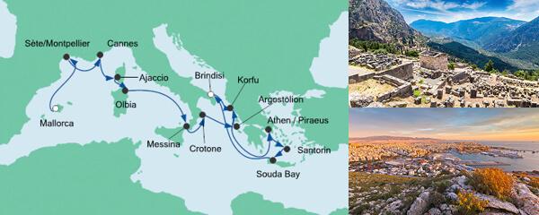 Routenverlauf Von Mallorca nach Korfu 2 am 25.04.2020