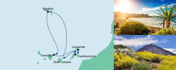 Routenverlauf Kanaren & Madeira ab Gran Canaria am 22.01.2022