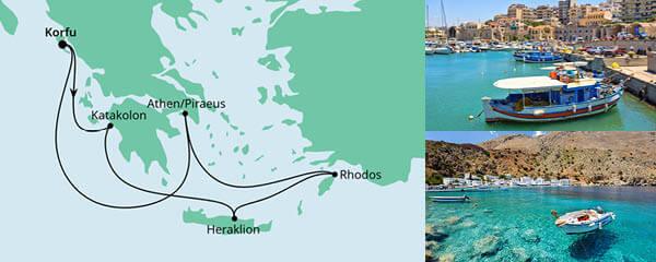 Routenverlauf Griechenland ab Korfu am 14.07.2020