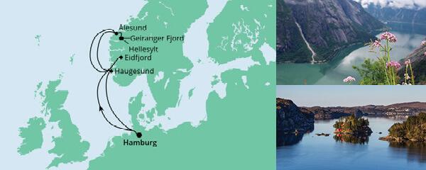 Routenverlauf Norwegens Fjorde ab Hamburg am 03.05.2020