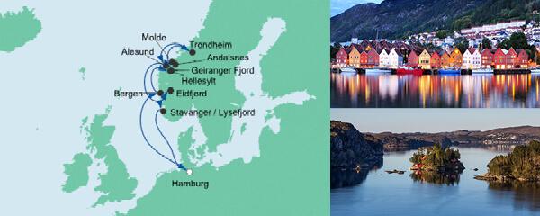 AIDA Seetours Angebot Norwegens Fjorde mit Geirangerfjord