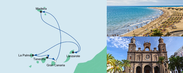 Routenverlauf Kanaren & Madeira mit La Palma am 02.01.2022