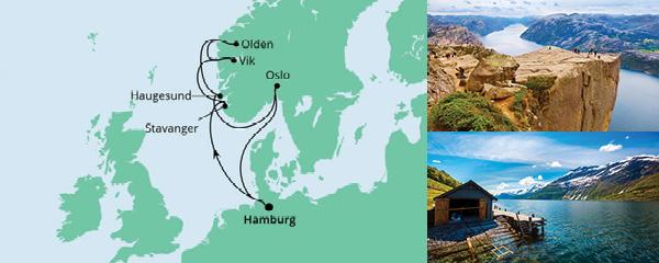 Routenverlauf Norwegens Küste mit Fjorden am 11.04.2022