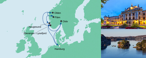 AIDA Pauschal Angebot Norwegens Küste mit Fjorden