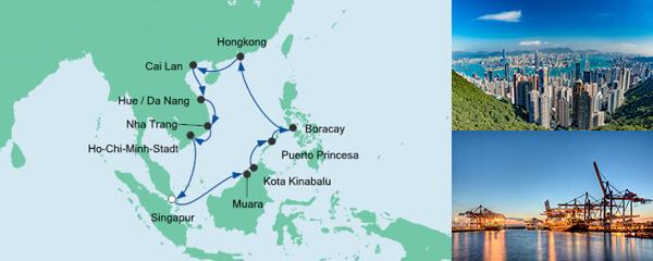Routenverlauf Philippinen, Hongkong & Vietnam am 31.01.2021