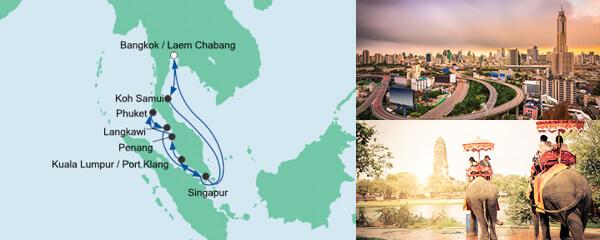 Routenverlauf Thailand, Malaysia & Singapur mit Phuket am 22.11.2021