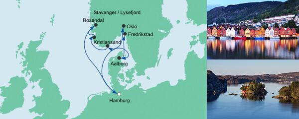 Routenverlauf Skandinavien mit Hardangerfjord am 22.07.2020