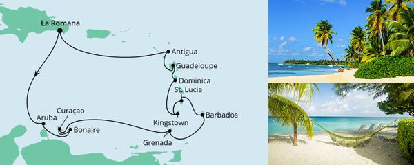 Routenverlauf Karibische Inseln ab Dominikanische Republik am 22.12.2022