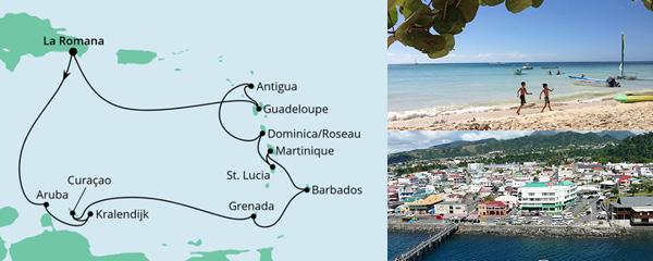 Routenverlauf Karibische Inseln ab Dominikanische Republik am 16.02.2023