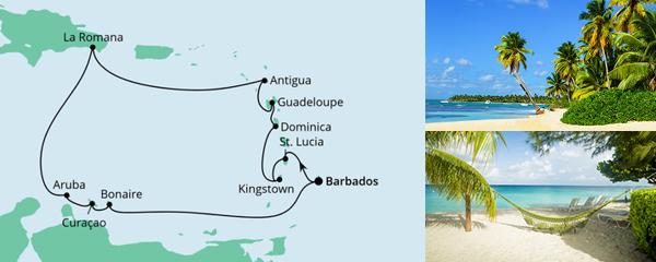 Routenverlauf Karibische Inseln ab Barbados am 15.12.2022