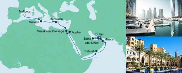 Routenverlauf Von Mallorca nach Abu Dhabi am 02.10.2020