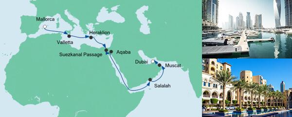 AIDA Spezialangebot Von Mallorca nach Dubai