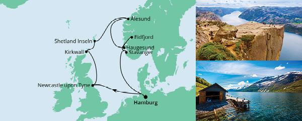 Routenverlauf Nordische Inseln & Norwegen am 28.04.2021