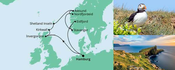 Routenverlauf Nordische Inseln & Norwegen am 14.04.2022