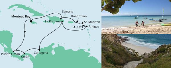 Routenverlauf Karibik & Mittelamerika ab Jamaika am 23.01.2022