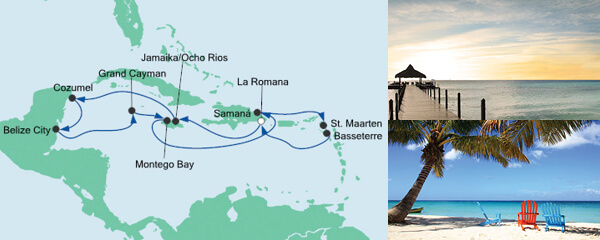 Routenverlauf Karibik & Mexiko ab Dominikanische Republik am 05.02.2022