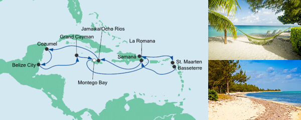 Routenverlauf Karibik & Mexiko ab Jamaika am 02.01.2022