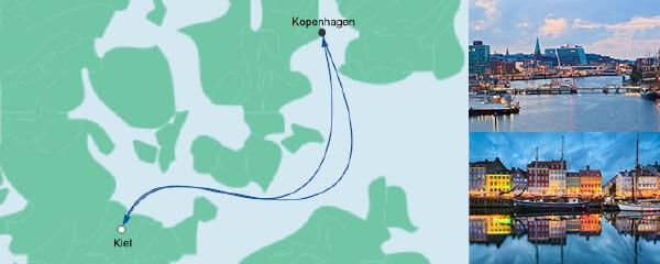 Routenverlauf Schnupperkreuzfahrt ab Kiel am 15.08.2019