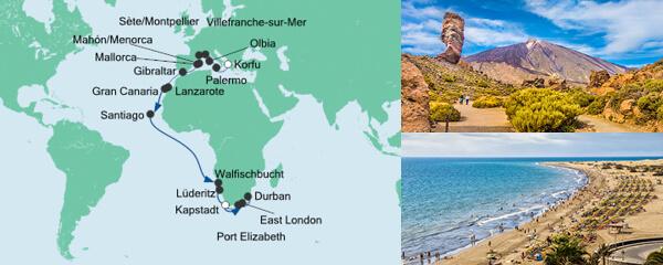Routenverlauf Weltenbummler von Korfu nach Kapstadt am 06.10.2020