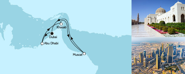 Routenverlauf Dubai mit Oman am 14.12.2020