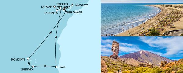 Routenverlauf Kanaren mit Kapverden am 14.03.2021