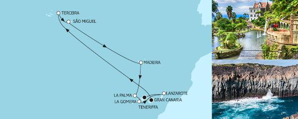 Routengrafik Kanaren mit Azoren I