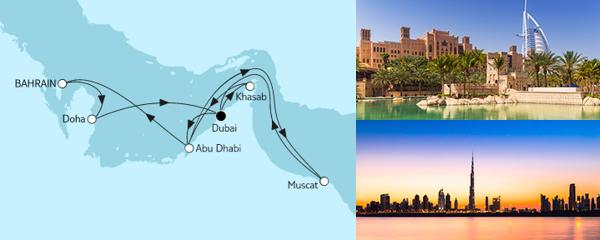 Routenverlauf Dubai mit Katar & Oman am 01.03.2021