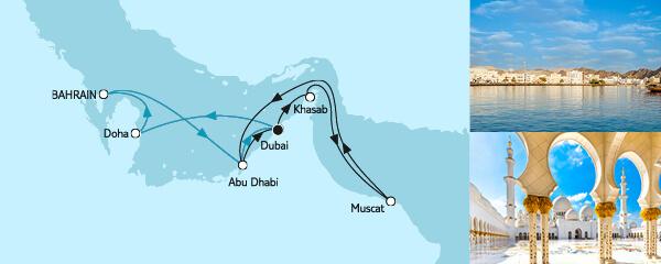 Routengrafik Dubai mit Katar & Oman