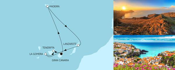 Routenverlauf Kanaren mit Lanzarote am 30.01.2022