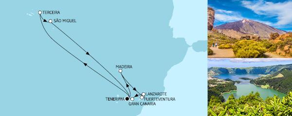 Routenverlauf Kanaren mit Madeira II & Azoren am 11.03.2021