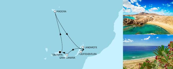 Routenverlauf Kanaren mit Madeira II am 01.12.2022