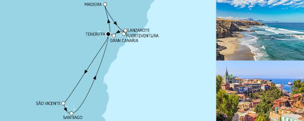 Routenverlauf Kanaren mit Kapverden & Madeira II am 04.03.2021
