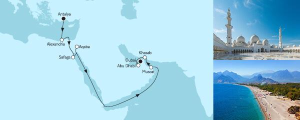 Routengrafik Östliches Mittelmeer bis Dubai
